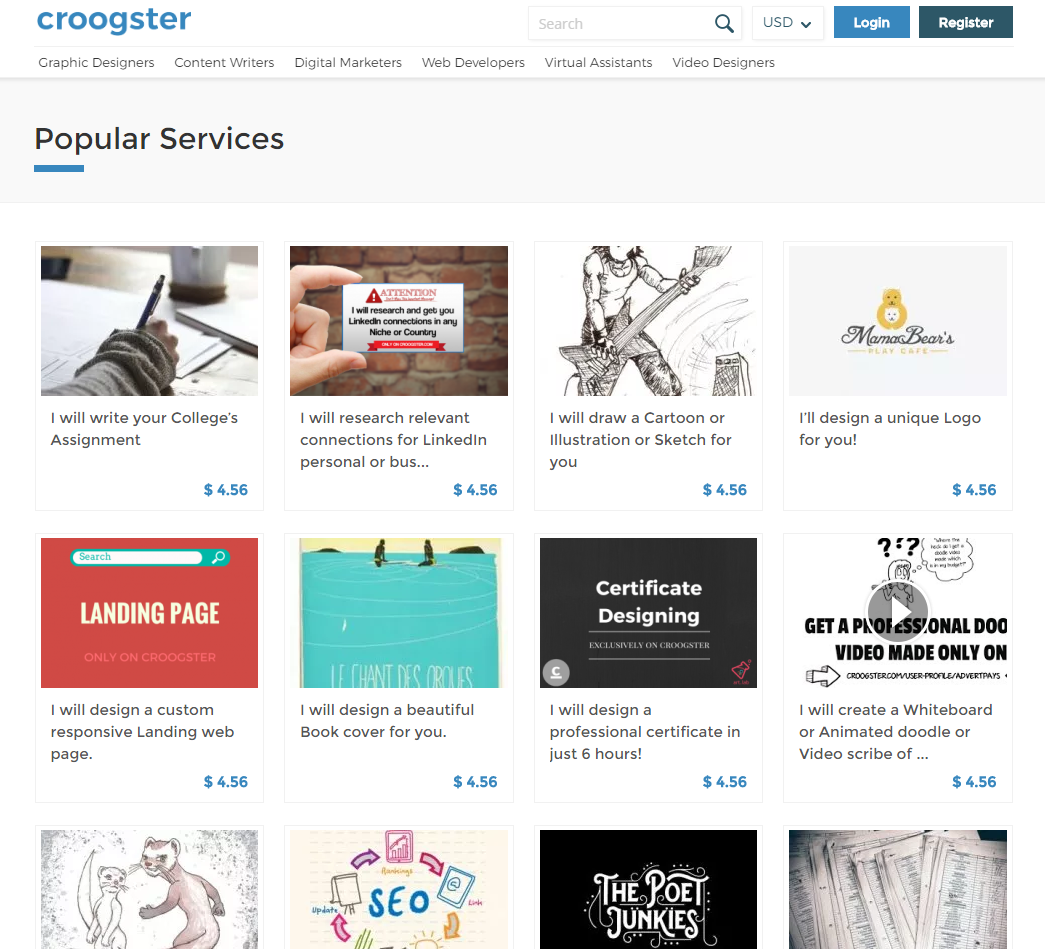 freelance websites croogster