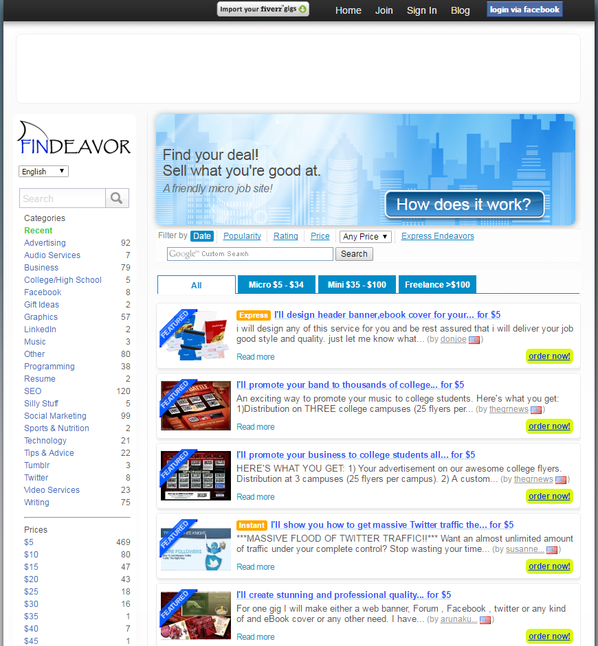 freelance websites findeavor