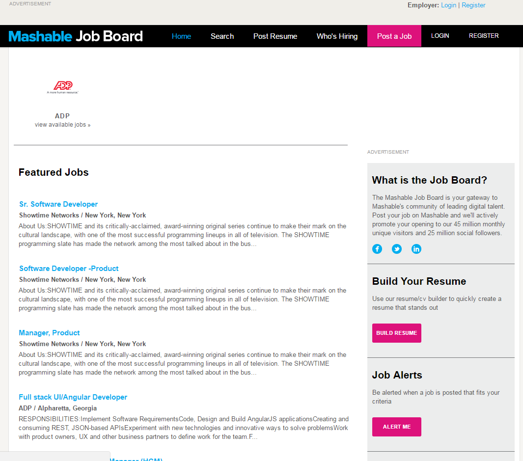 freelance websites mashable job board