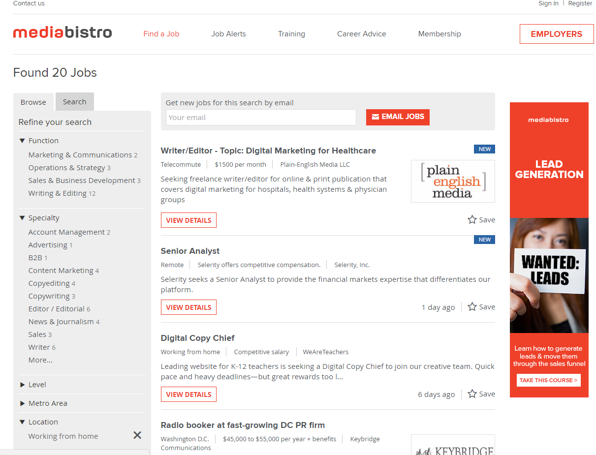 freelance websites mediabistro