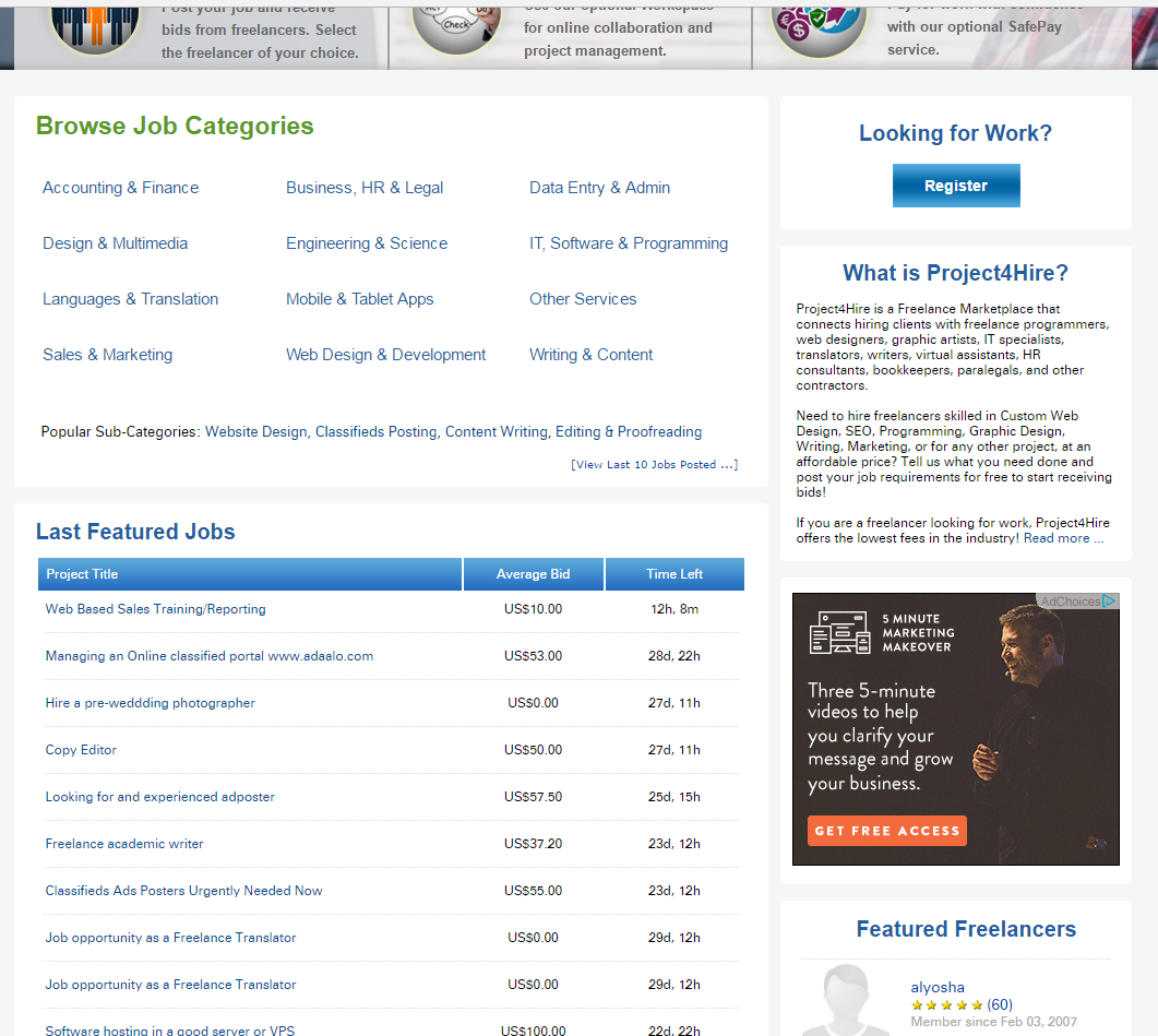 freelance websites project4hire