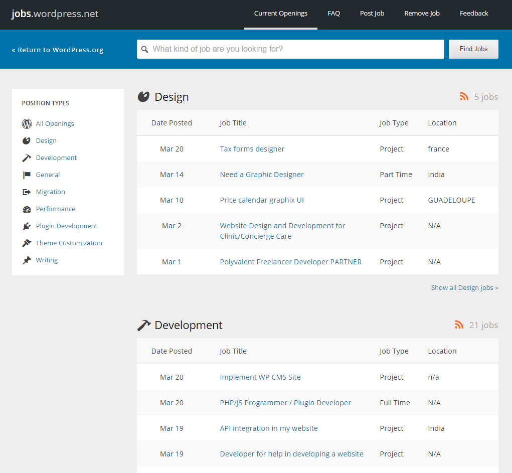 freelance websites wordpress job board