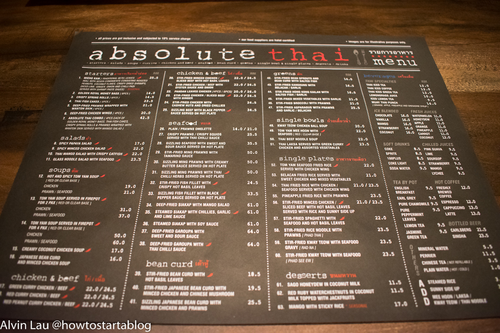 absolute thai genting premium outlets menu