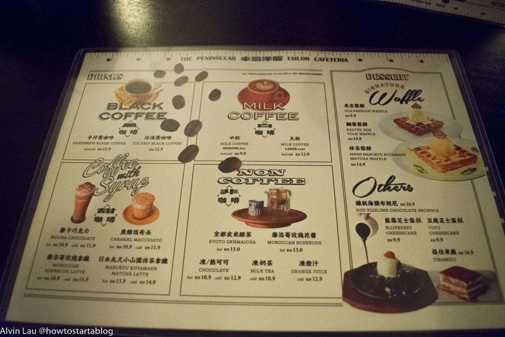 the peninsular cafeteria melaka menu