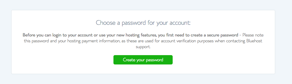 choose a password bluehost