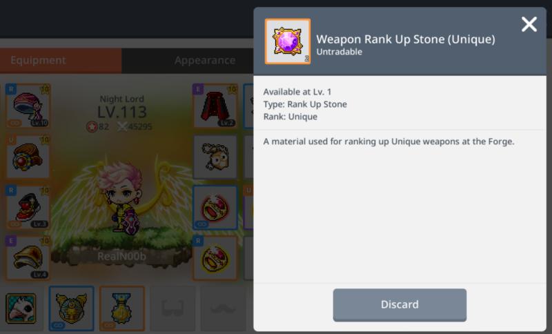 how to get unique rank up stones maplestory m
