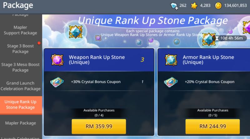 unique rank up stone maplestory m