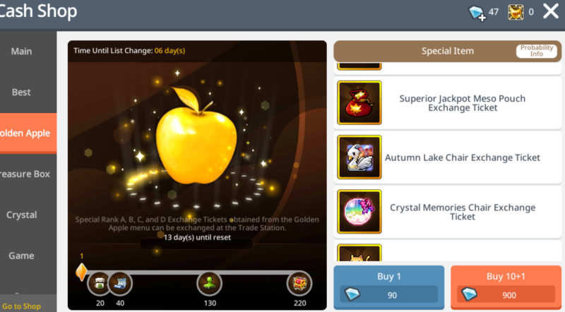 Golden apple items maplestory m