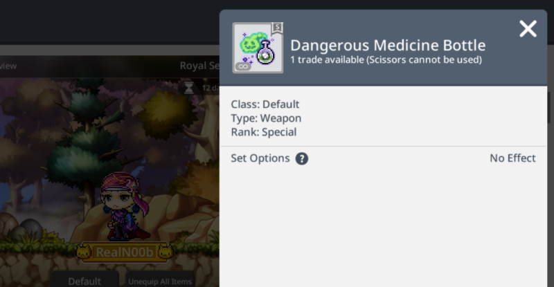 dangerous medicine bottle royal style maplestory m