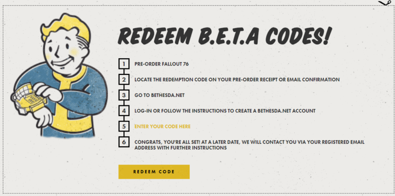 redeem beta codes fallout 76