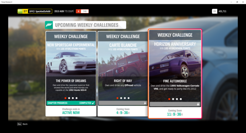 weekly and daily challenges horizon 4