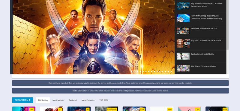 free movie streaming websites list
