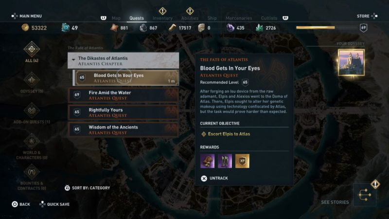 ac odyssey - blood gets in your eyes guide tips