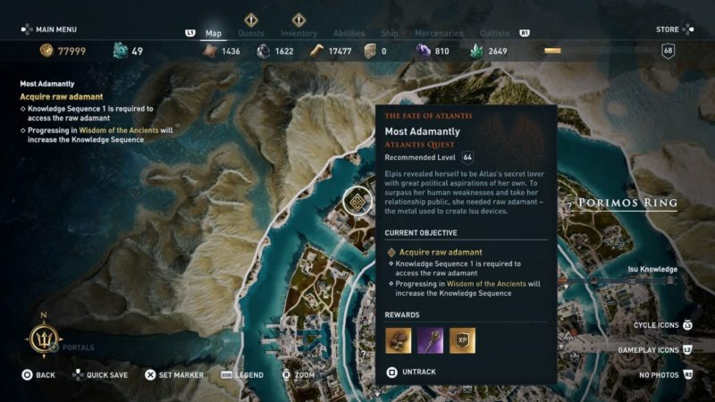 ac odyssey - most adamantly quest guide