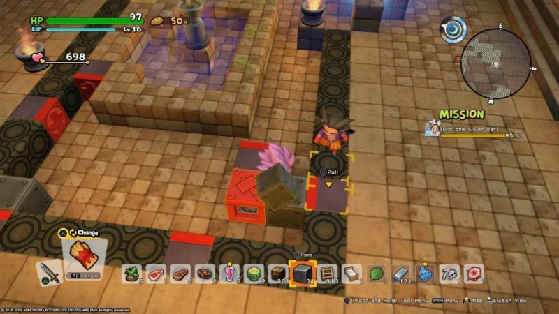 how to move red box to blue tile - dragon quest builders 2