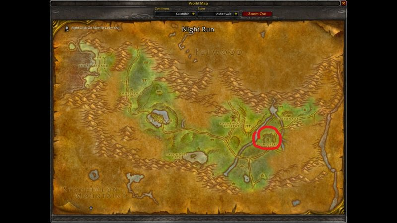 where is ashenvale - classic wow