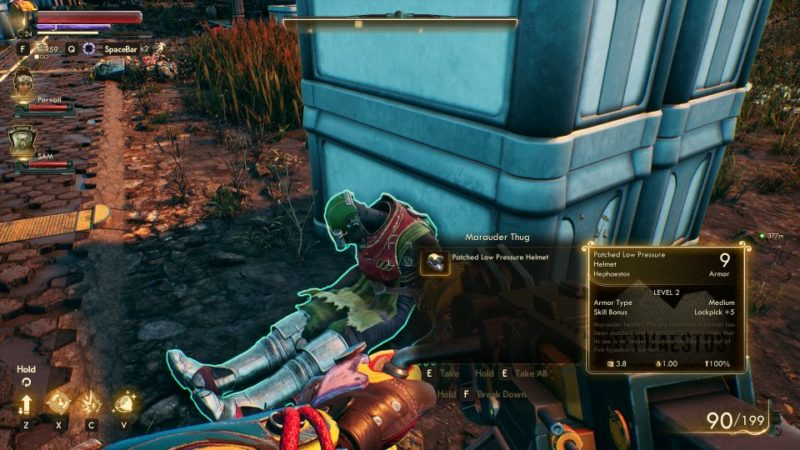 the outer worlds - make space suits, wont travel where to get spacer suit