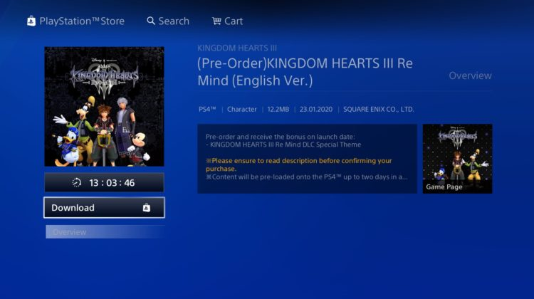 having problem preload remind dlc kh3 ps4