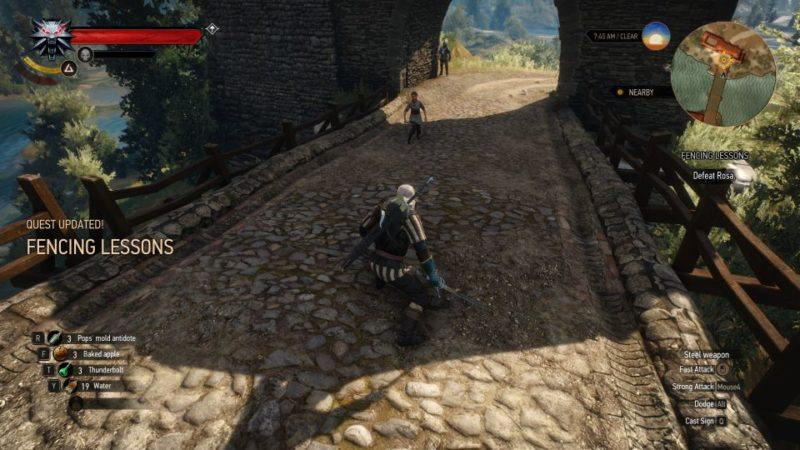 the witcher 3 - fencing lessons walkthrough