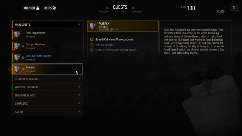 the witcher 3 - payback quest guide