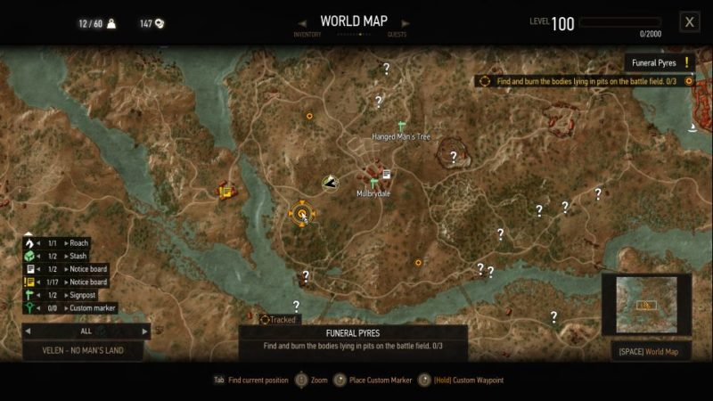 witcher 3 - funeral pyres location of dead bodies