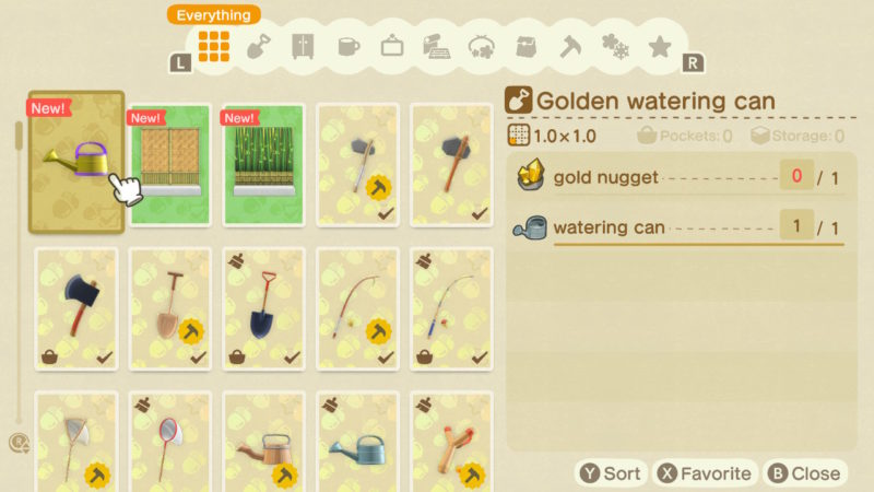 animal crossing new horizons - how to get golden watering can recipe