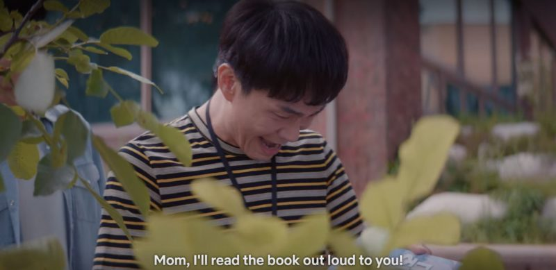 sang-tae and siblings read new book to mother