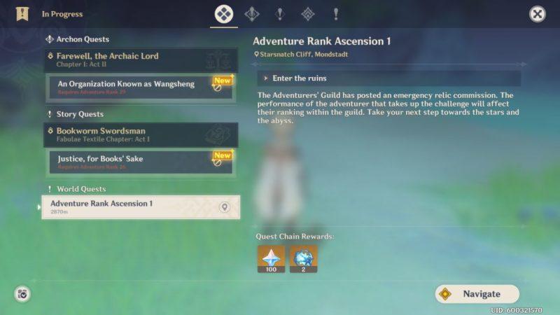 genshin impact- adventure rank ascension 1