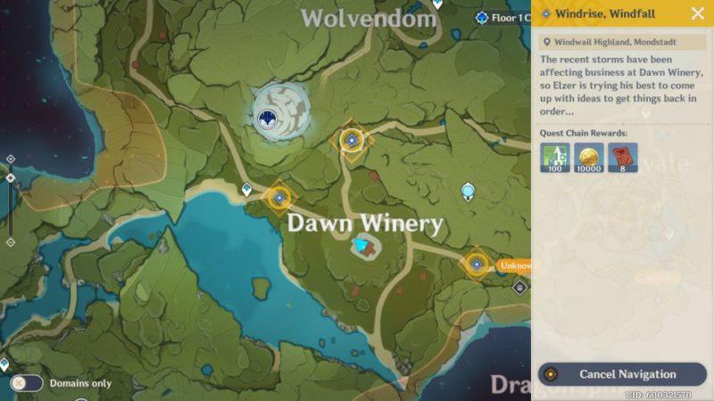 genshin impact - windrise, windfall quest walkthrough